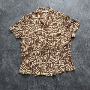 Vintage 90s earthy animal print button up t-shirt